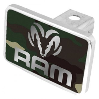 Eurosport Daytona® - MOPAR Green Camouflage Premium Hitch Plug with Dodge Ram Logo