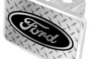 Eurosport Daytona® - Ford Logo on Diamond Plate Premium Hitch Plug