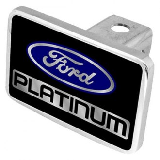 "Eurosport Daytona® - Ford Motor Company Black Premium Hitch Cover with Platinum Logo for 2"" Receivers"