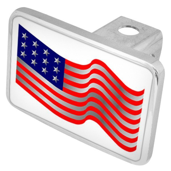 "Eurosport Daytona® - LSN Premium Hitch Cover with USA Waving Flag for 2"" Receivers"
