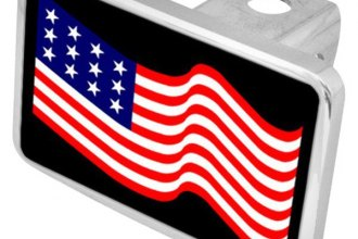 Eurosport Daytona® - LSN Black Premium Hitch Plug with USA Flag Waving Logo