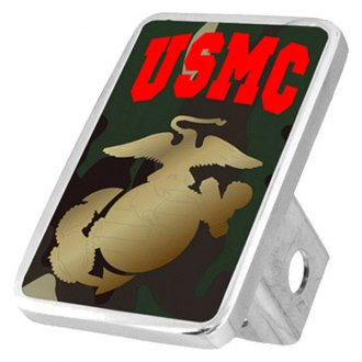 Eurosport Daytona® - LSN Military Green Camouflage Premium Hitch Plug with USMC Logo