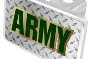 Eurosport Daytona® - Army Logo on Diamond Plate Premium Hitch Plug