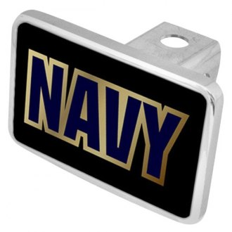 "Eurosport Daytona® - LSN Military Black Premium Hitch Cover with Navy Logo for 2"" Receivers"