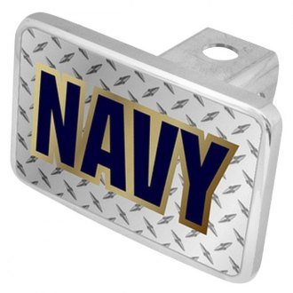 "Eurosport Daytona® - LSN Military Diamond Premium Hitch Cover with Navy Logo for 2"" Receivers"