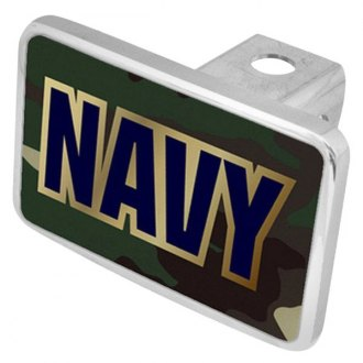 "Eurosport Daytona® - LSN Military Green Camouflage Premium Hitch Cover with Navy Logo for 2"" Receivers"