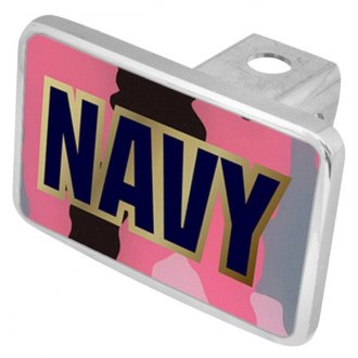 "Eurosport Daytona® - LSN Military Pink Camouflage Premium Hitch Cover with Navy Logo for 2"" Receivers"