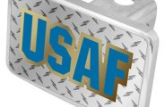 Eurosport Daytona® - USAF Logo on Diamond Plate Premium Hitch Plug