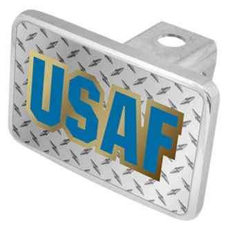 "Eurosport Daytona® - LSN Military Diamond Premium Hitch Cover with USAF Logo for 2"" Receivers"