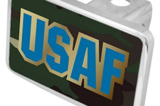 Eurosport Daytona® - LSN Military Green Camouflage Premium Hitch Plug with USAF Logo