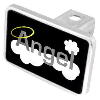 Eurosport Daytona® - LSN Spiritual Black Premium Hitch Plug with Angel Word with Clouds & Halo