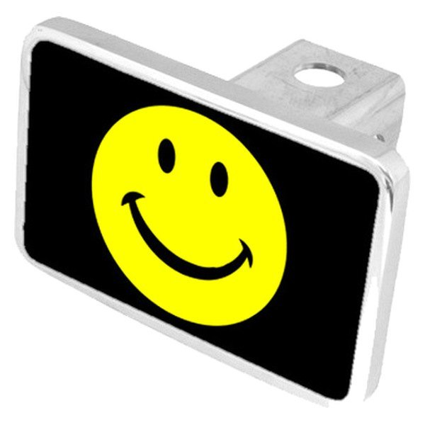 "Eurosport Daytona® - LSN Black Premium Hitch Cover with Smiley Face Logo for 2"" Receivers"