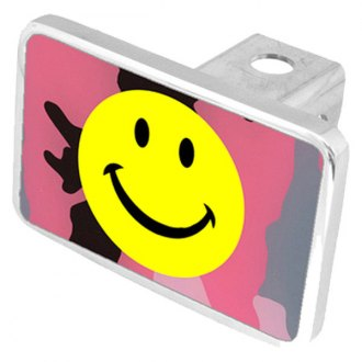 Eurosport Daytona® - LSN Smiley Face Pink Camouflage Premium Hitch Plug with Smiley Face Logo