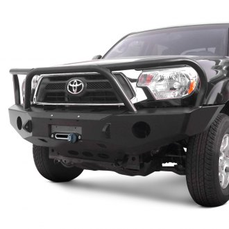 Expedition One® - RangeMax Full Width Black Front Winch HD Bumper with Grille Guard