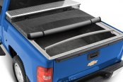 Image may not reflect your exact vehicle! Extang® - Classic Platinum Tool Box™ Snap Tonneau Cover, Mid Open