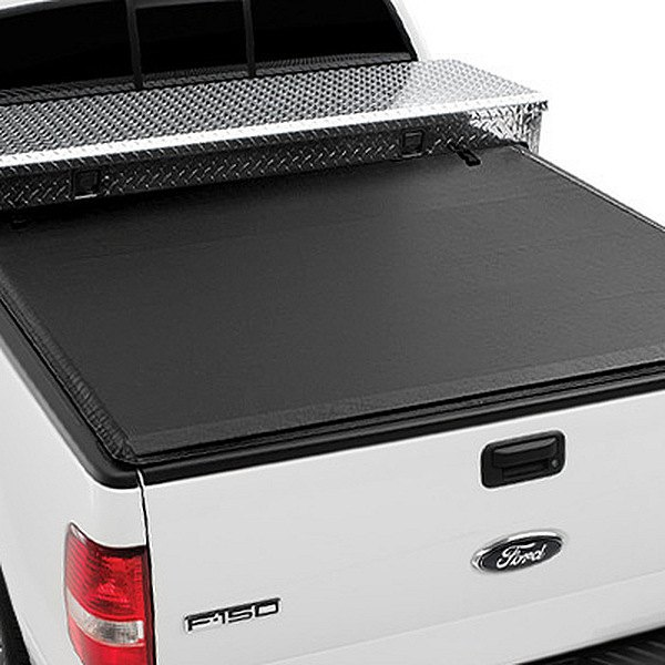 Image may not reflect your exact vehicle! Extang® - Express Tool Box Tonno™ Roll-Up Tonneau Cover, Installed