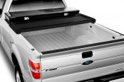 Image may not reflect your exact vehicle! Extang® - Trifecta Tool Box™ Tri-Fold Tonneau Cover, Open