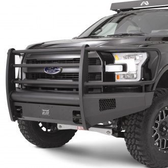 Fab Fours® - Black Steel Elite Full Width Front HD Bumper with Full Grille Guard