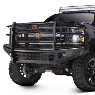 Fab Fours® - Black Steel Full Width Front Winch HD Bumper with Full Grille Guard