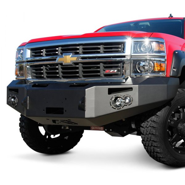 Fab Fours® - Premium Full Width Front HD Black Powder Coat Bumper