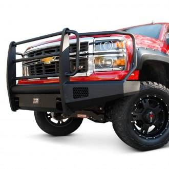 Fab Fours® - Black Steel Elite Full Width Front Winch HD Bumper with Full Grille Guard