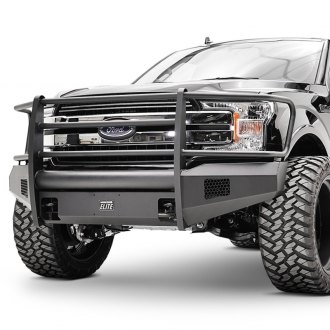 Fab Fours® - Black Steel Elite Full Width Front Winch HD Bumper with Brush Guard