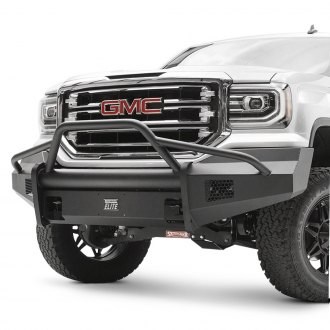 Fab Fours® - Black Steel Elite Full Width Front Winch HD Bumper with Pre-Runner Guard