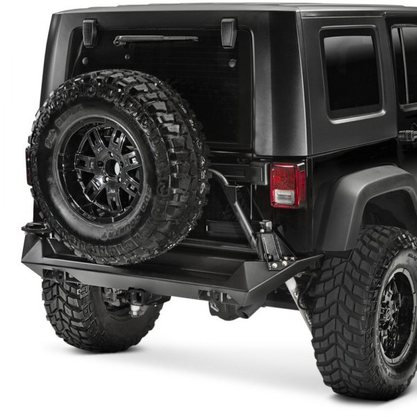 fab fours jeep wrangler 2007 2017 premium full width rear hd bumper. Black Bedroom Furniture Sets. Home Design Ideas