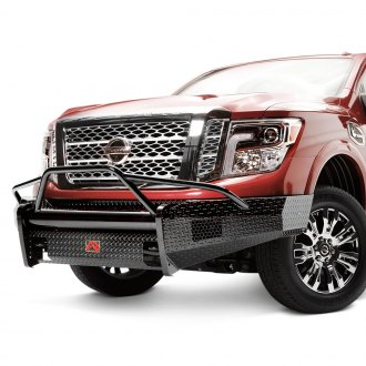 Fab Fours® - Black Steel Full Width Front HD Bumper with Full Grille Guard