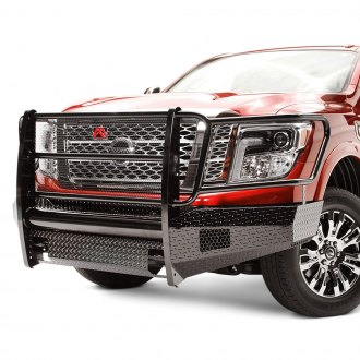 Fab Fours® - Black Steel Full Width Front Winch HD Bumper with Brush Guard
