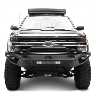 Fab Fours® - Vengeance Full Width Black Front HD Bumper with Pre-Runner Guard