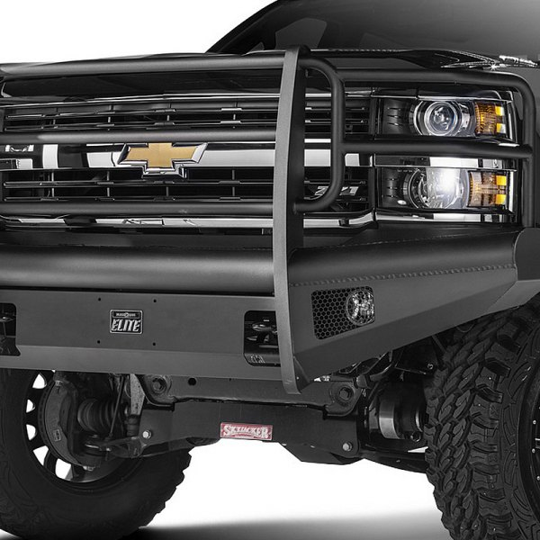 Fab Fours® - Full Size Black Steel Elite Black Powdercoated Front Bumper With Full Grille Guard