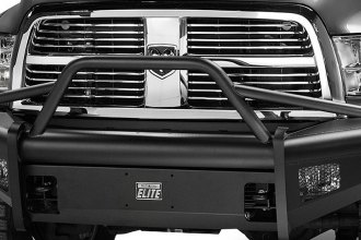 Fab Fours® - Half Ton Black Steel Elite Bare Steel Front Bumper with Pre-Runner Guard