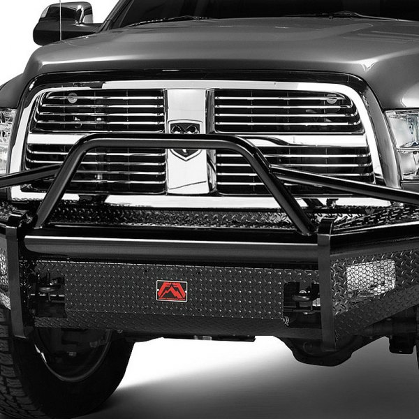 Image may not reflect your exact vehicle!Fab Fours® - Full Size Black Steel Bare Steel Front Bumper With Pre-Runner Guard