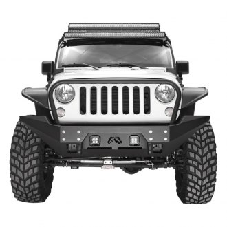 Fab Fours® - Full Metal Jacket Full Width Front HD Winch Bumper with Grille Guard