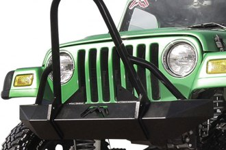 Fab Fours® JP97-A1450-1 - Hardcore Black Powdercoated Front Winch Bumper with Grille Guard