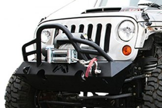 Fab Fours® - Hardcore Stubby Front Winch Bumper With Grille Guard