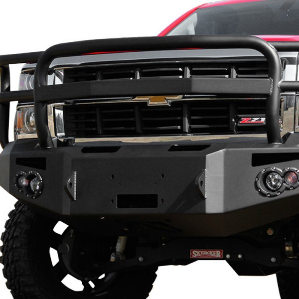 Image may not reflect your exact vehicle!Fab Fours® - Premium Black Powdercoated Front Winch Bumper with Full Grille Guard