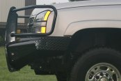 Fab Fours® - Black Steel Full Width Front HD Black Powdercoated Bumper with Full Grille Guard