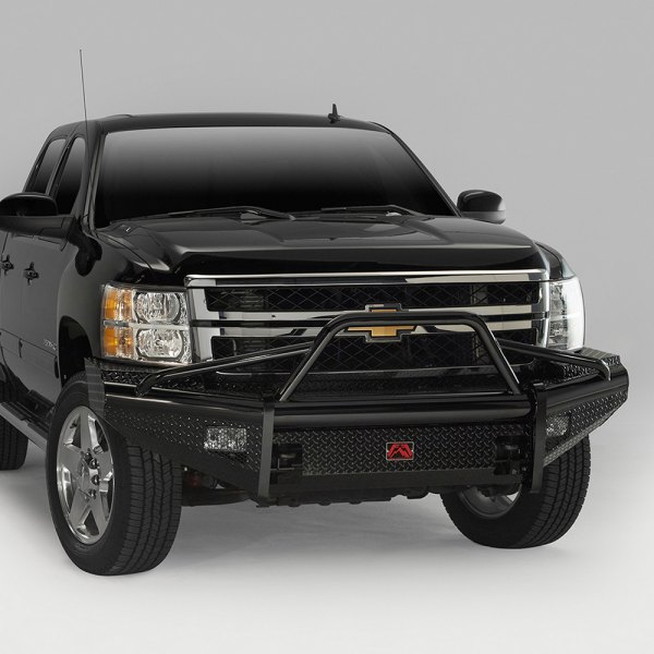 Fab Fours® - Black Steel Full Width Front HD Bare Steel Bumper with Pre-Runner Guard