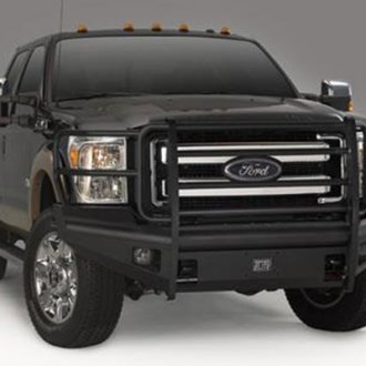 Fab Fours® - Black Steel Elite Full Width Front HD Bumper with Grille Guard