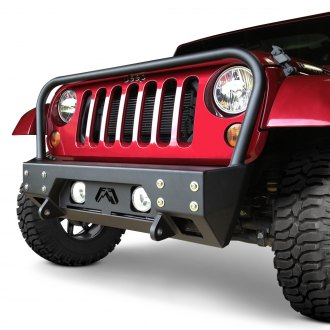 Fab Fours® - Full Metal Jacket Stubby Front HD Winch Bumper with Grille Guard