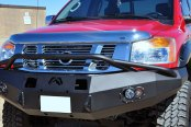Fab Fours® - Premium Full Width Front HD Winch Bare Steel Bumper with Pre-Runner Guard
