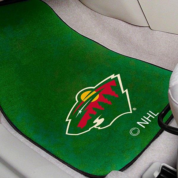 FanMats® 10397 - Green Carpet Mats with Minnesota Wild Logo