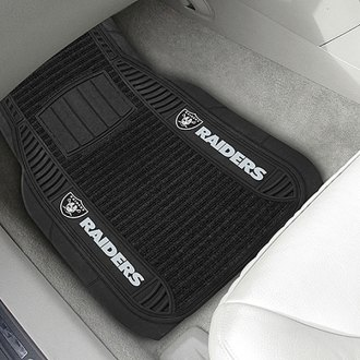 FanMats® - Universal Deluxe Vinyl Car 1st Row Mats (Sports, NFL, Oakland Raiders)