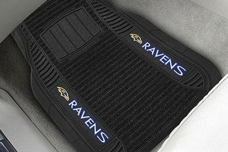 FanMats® - 1st Row Black Deluxe Vinyl Car Mats with Baltimore Ravens Logo