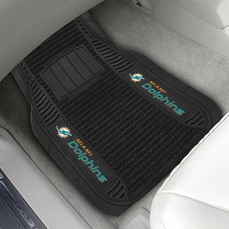 FanMats® - Universal Deluxe Vinyl Car 1st Row Mats (Sports, NFL, Miami Dolphins)