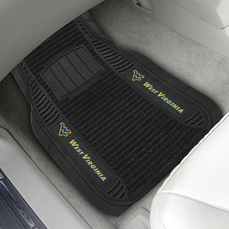 FanMats® - 1st Row Deluxe Vinyl Car Mats with West Virginia University Logo