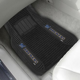 FanMats® - Universal Deluxe Vinyl Car 1st Row Mats (Sports, MLB, Milwaukee Brewers)
