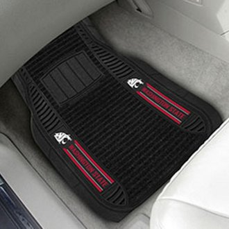 FanMats® - 1st Row Deluxe Vinyl Car Mats with Washington State University Logo